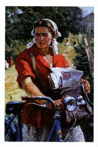 Pretty Woman Rustic Postman on a bicycle Socialist Realism Russian Postcard