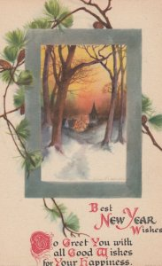 NEW YEAR Winter Scene  , 1900-10s ; Clapsaddle