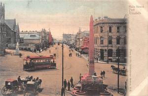 South Africa Port Elizabeth Main Street Tram Carriages Column Monument Statue