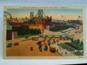 Camden NJ plaza and approach to Delaware River Bridge cars and buses posted 1944