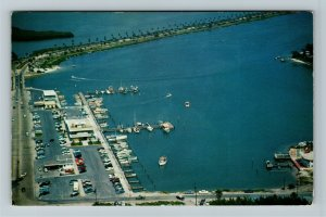 Clearwater FL- Florida, Aerial of Small Boat Marina, Causeway, Chrome Postcard