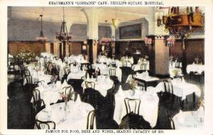 Montreal Canada~Krausmann's Lorraine Cafe~Phillips Square~Interior~1930 Postcard