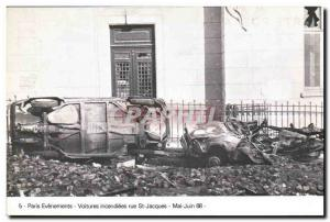 Modern Postcard Paris Events Cars torched St Jacques in May June 1968