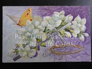 c1915 Embossed 'Eastertide Greetings' showing Cross, crown of thorns & butterfly