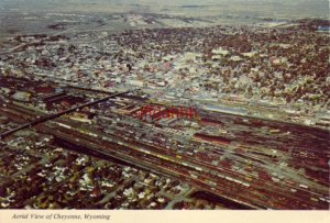 Continental-size AERIAL VIEW OF CHEYENNE, WY roundhouse & tracks and downtown