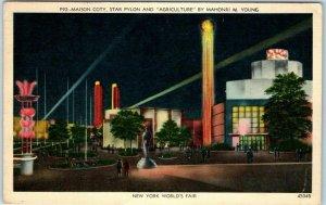 New York World's Fair Postcard Maison Coty, Star Pylon & Agriculture - Linen