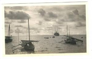 RP; Three small boats & Steamship at anchor in harbour, Shanghai, China, 1910...