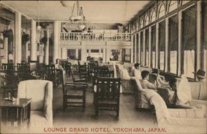 Yokohama Japan Grand Hotel Lounge c1910 Postcard