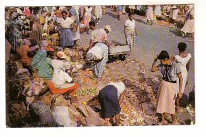 Busy Street Market, Kingston Jamaica, Set of 'New' Stamps Used as Postage