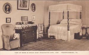 View Of Room In Which Mary Washington Died 1789 Frdericksburg Virginia