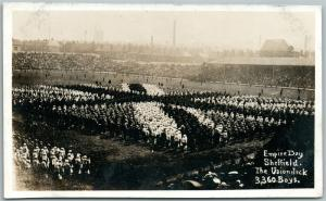 UNION JACK LIVING PICTURE EMPIRE DAY SHEFFIELD ANTIQUE REAL PHOTO POSTCARD RPPC