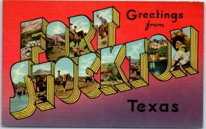 FORT STOCKTON Texas Large Letter Postcard Graphic Facts of America Linen 1940s