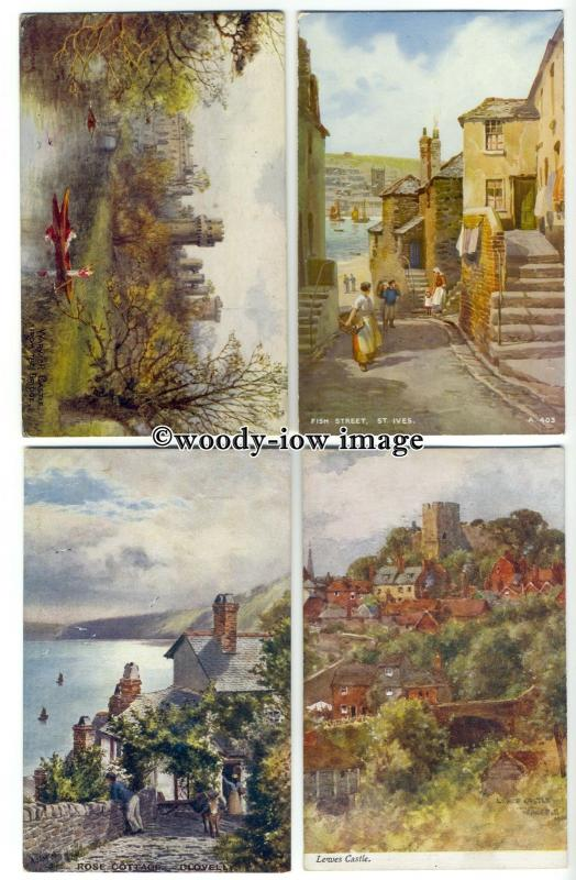 ar0438 - Scenic Views in Various Counties- Artist - Various Artists- 4 Postcards