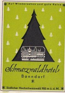 Germany Bonndorf Schwarzwaldhotel Vintage Luggage Label sk3151