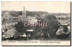 Quimperle Old Postcard panoramic Avue of the lower town View from the mountai...