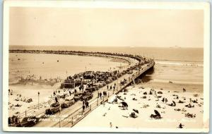Long Beach, CA RPPC Real Photo Postcard SPIT & ARGUE CLUB Rainbow Pier c1940s