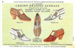 New York NY R. Stern Company Czecho-Sandals Shoes Curt Teich Linen Postcard