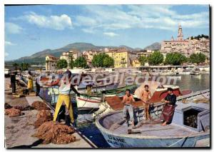 Modern Postcard The French Riviera Menton A corner of the harbor