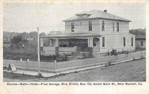 LP59 New Market  Virginia Postcard Mrs. Zirkle Room Rentals