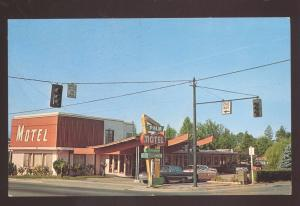 GRANTS FALLS OREGON PALM MOTEL 1960's CARS VINTAGE ADVERTISING POSTCARD