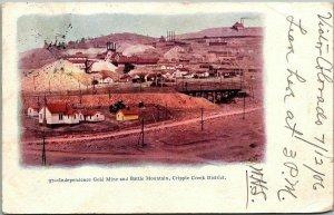 Cripple Creek CO Mining Postcard INDEPENDENCE GOLD MINE & Battle Mountain 1905