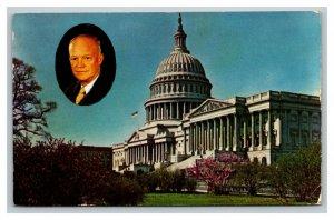Vintage 1954 Postcard The Capitol Building Portrait of Dwight D Eisenhauer DC