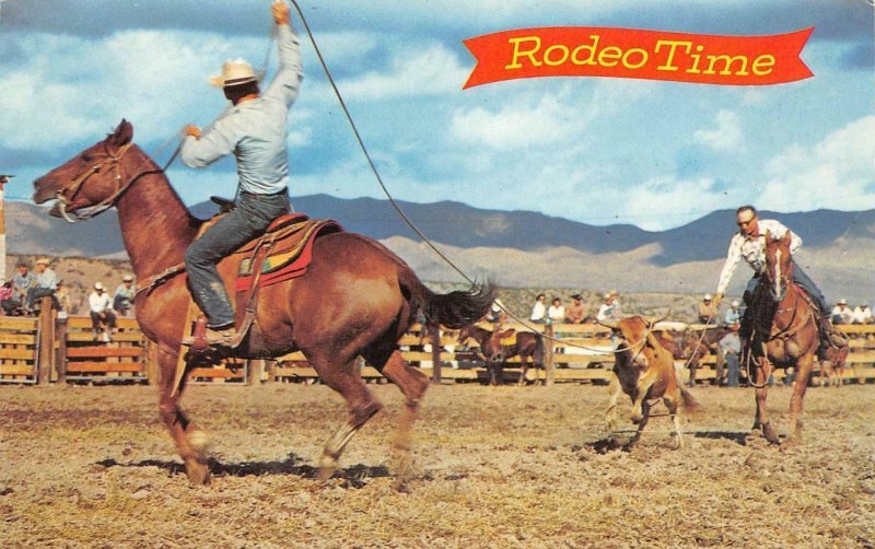 RODEO TIME Cowboys Horses Ranch Style Calf Roping c1950s Vintage Postcard