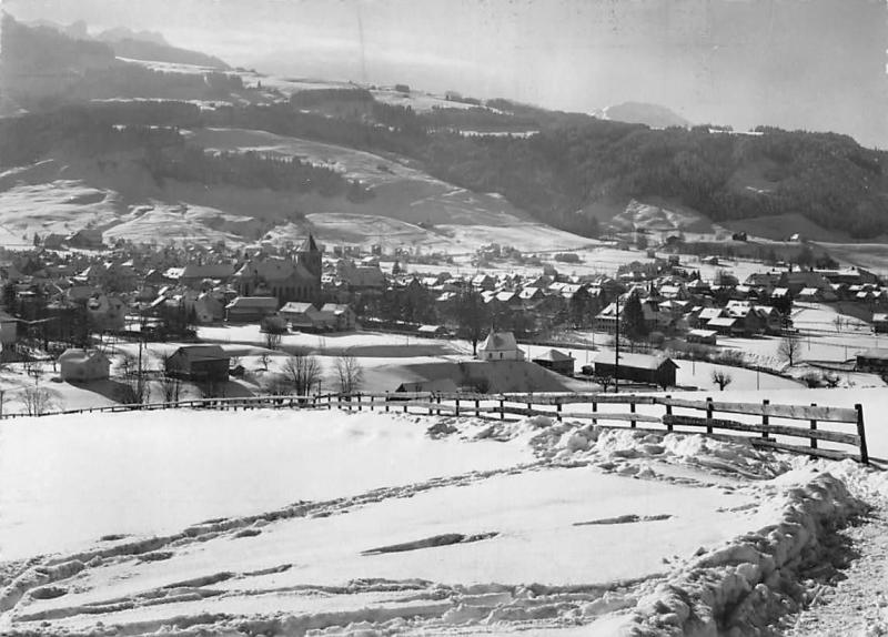Switzerland Appenzell Winter General View Fence Church
