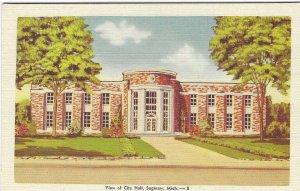 1940's View of City Hall, Saginaw, Michigan Linen Postcard