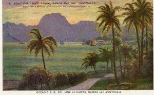Vintage Postcard Oceanic SS Line Pango Pango Samoa and the Rainmaker