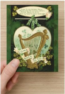 Single Saint Patrick's Day Postcards Come Back To Erin Gold Harp and Shamrocks