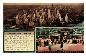 Postcard NY New York NYC Toffenetti's Broadway 43rd Street Fine Dining 2 Views