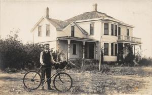F37/ Interesting Real Photo RPPC Postcard c1910 Man House Bicycle Bike