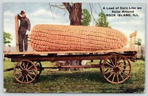 A Load Like We Raise Around Rock Island Illinois~Exaggerated Corn Wagon~1912