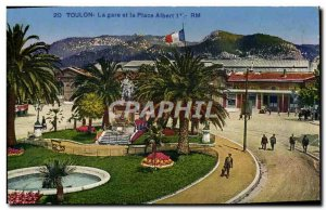 Old Postcard Toulon Train and Place Albert 1er