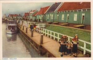 Netherlands Marken Locals Walking Along Waterfront