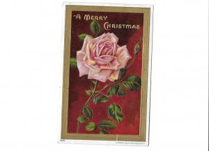 A Merry Christmas Embossed Rose 1910 Julius Bien & Co NY