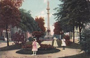 Public Square And Monument Baltimore Maryland 1911
