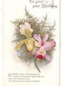 Orchid Flowers Tuck Oilette Birthday Greetings Greetings Ser. # R1117