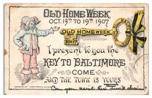 1907 Old Home Week, I Present to You the Key to Baltimore MD Postcard RPO Cancel