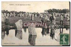 Old Postcard Dolmen Menhir Carnac End Menec alignments Folklore