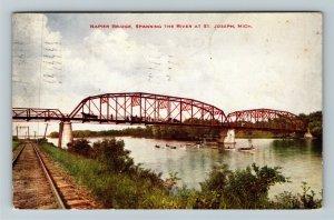 St. Joseph MI-Michigan, Napier Bridge Pedestrians, Boats, Vintage c1912 Postcard