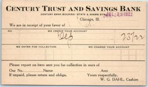 Chicago, IL Postcard CENTURY TRUST & SAVINGS BANK Receipt Card w/ 1922 Cancel