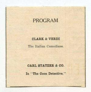 Program Clark & Verdi The Italian Comedians Carl Statzer Vintage Advertisement