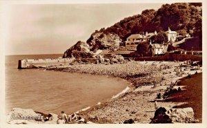 BABBACOMBE TORQUAY DEVON ENGLAND-PEOPLE ON BEACH VIEW~PHOTO POSTCARD