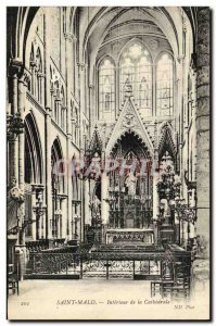 Postcard Old Saint Malo Interior of The Cathedral