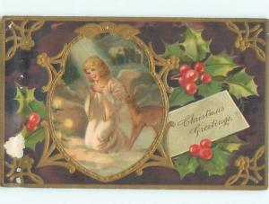 Pre-Linen Christmas BABY DEER BESIDE PRETTY ANGEL PRAYING AB5316