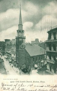 Boston, Massachusetts, MA, Old South Church, 1905 Vintage Postcard g9089
