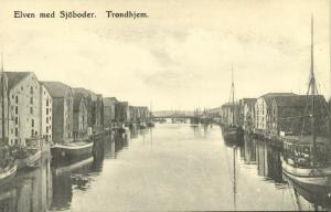 norway norge, TRONDHJEM TRONDHEIM, Elven med Sjöboder (1910s)