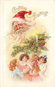 Victorian Christmas~Girls Under Candle Tree Branch~Santa Watches Over~AS Meeker